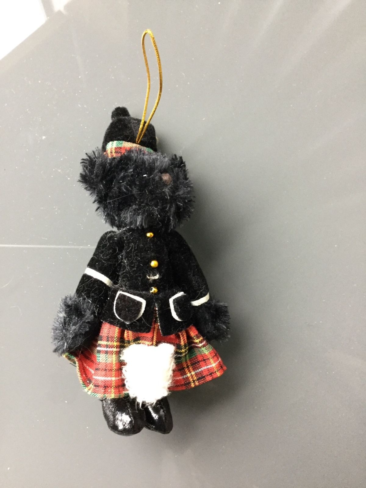 Scottie Dog Scottish Terrier Black Christmas Ornament Plaid Skirt