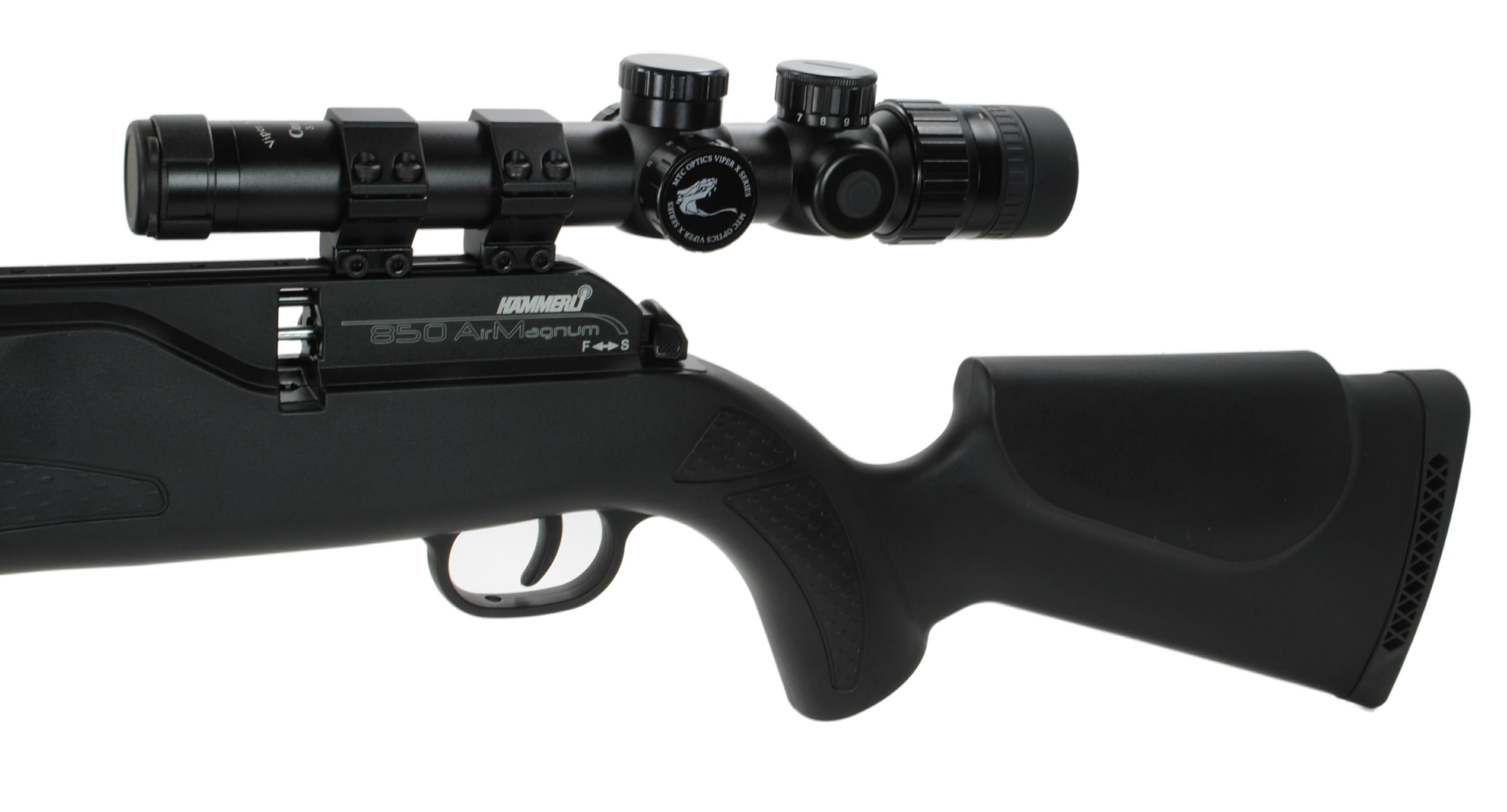Mtc viper connect rifle scope sitting on a hammerli