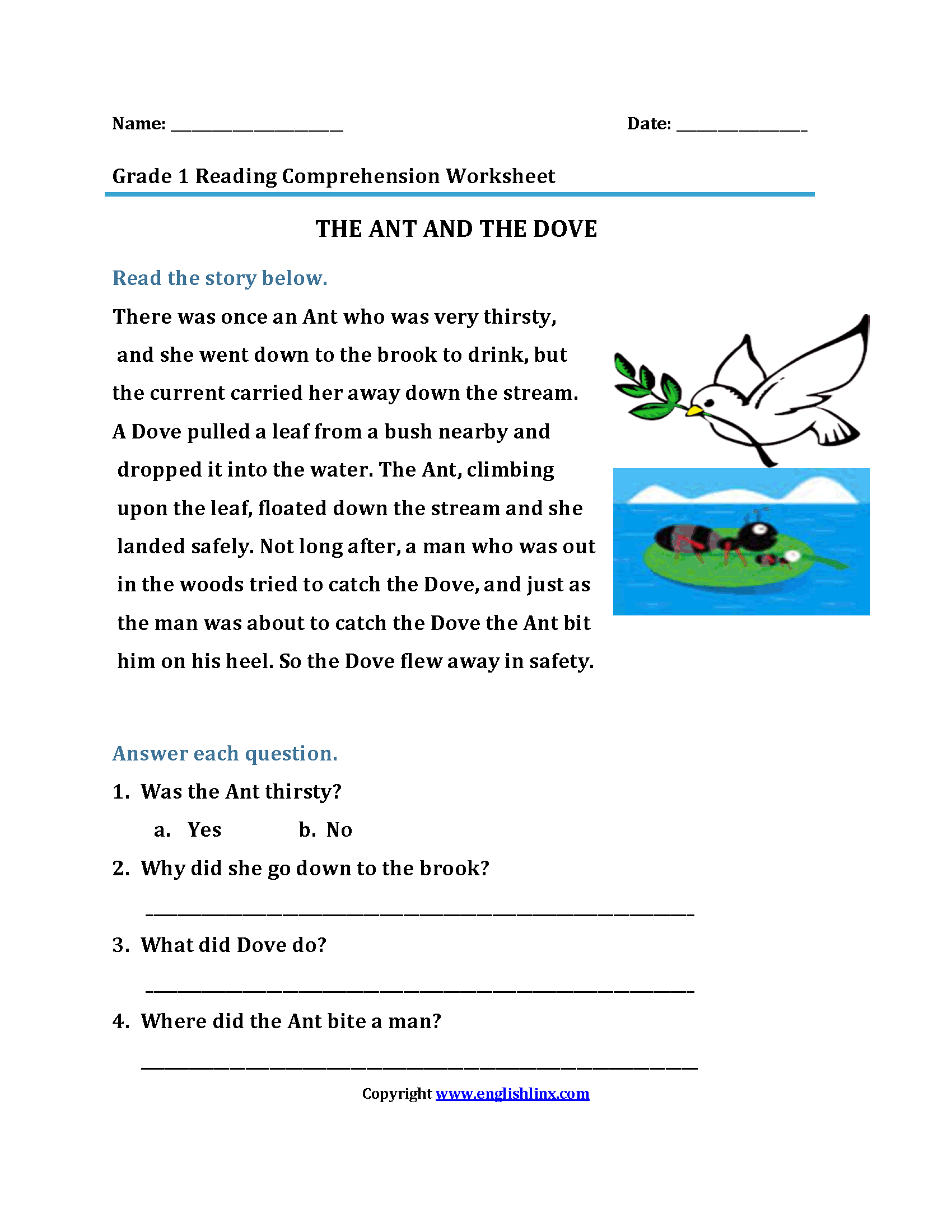 The Ant and Dove<br>First Grade Reading Worksheets