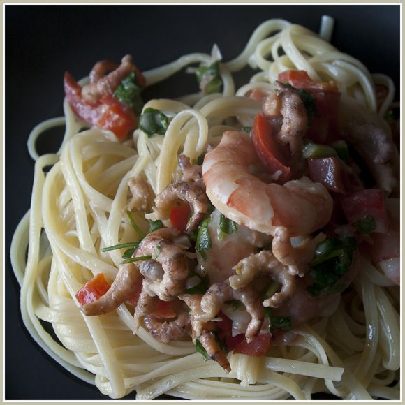 DONNA CARAMELLA: Pasta met scampi en garnalen