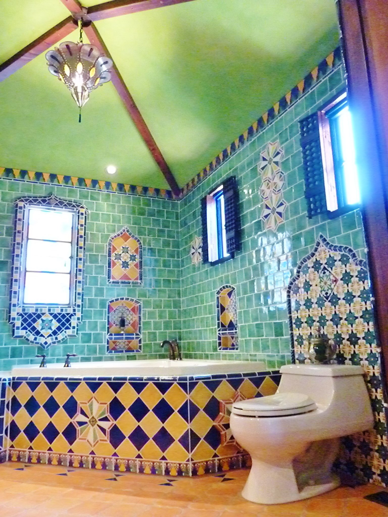 Moroccan themed bathroom using Turkish, Moroccan and Mexican tiles.  American f&v ...