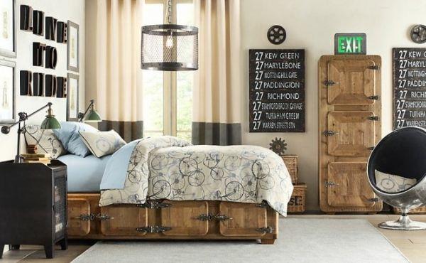 Industrie Look Im Kinderzimmer Holz Bett Metall Lampenschirm