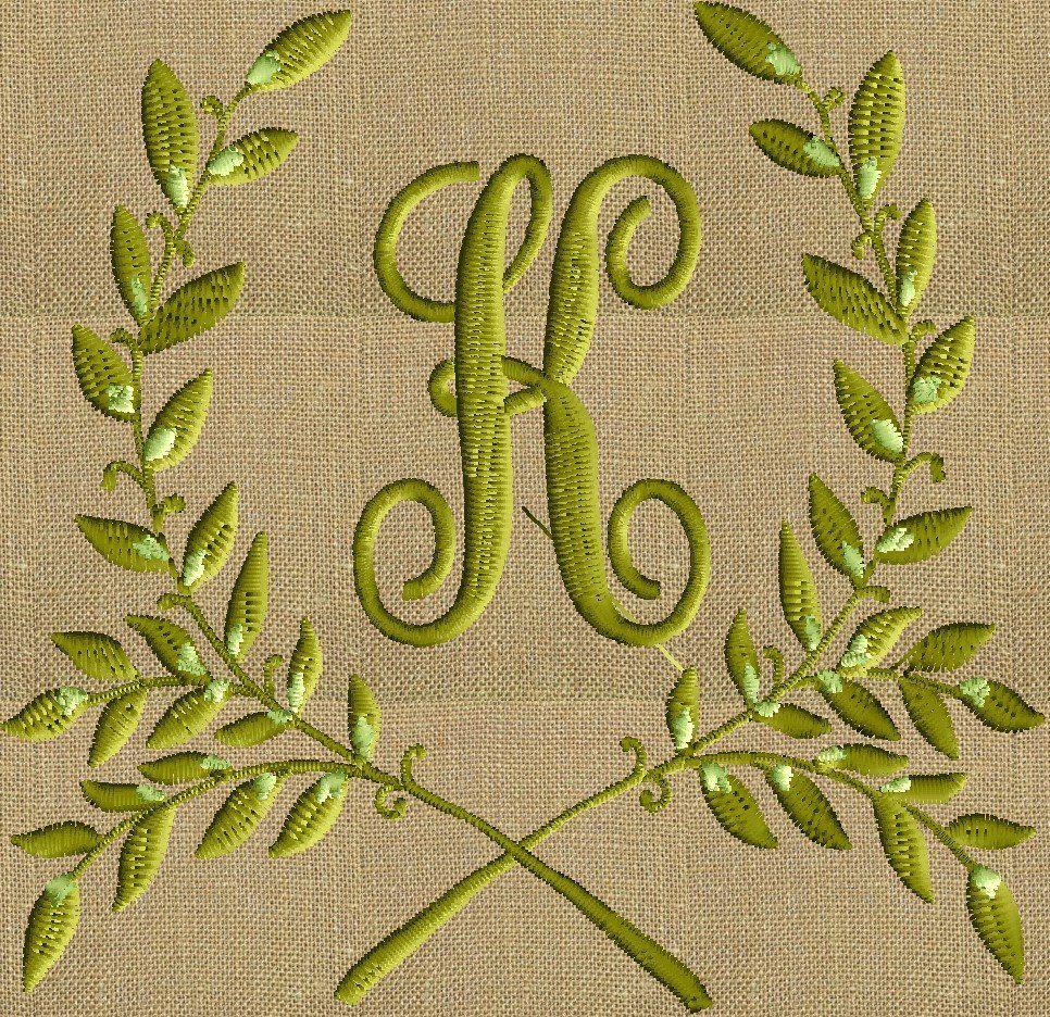 Leafy Laurel Frame Monogram Font not included