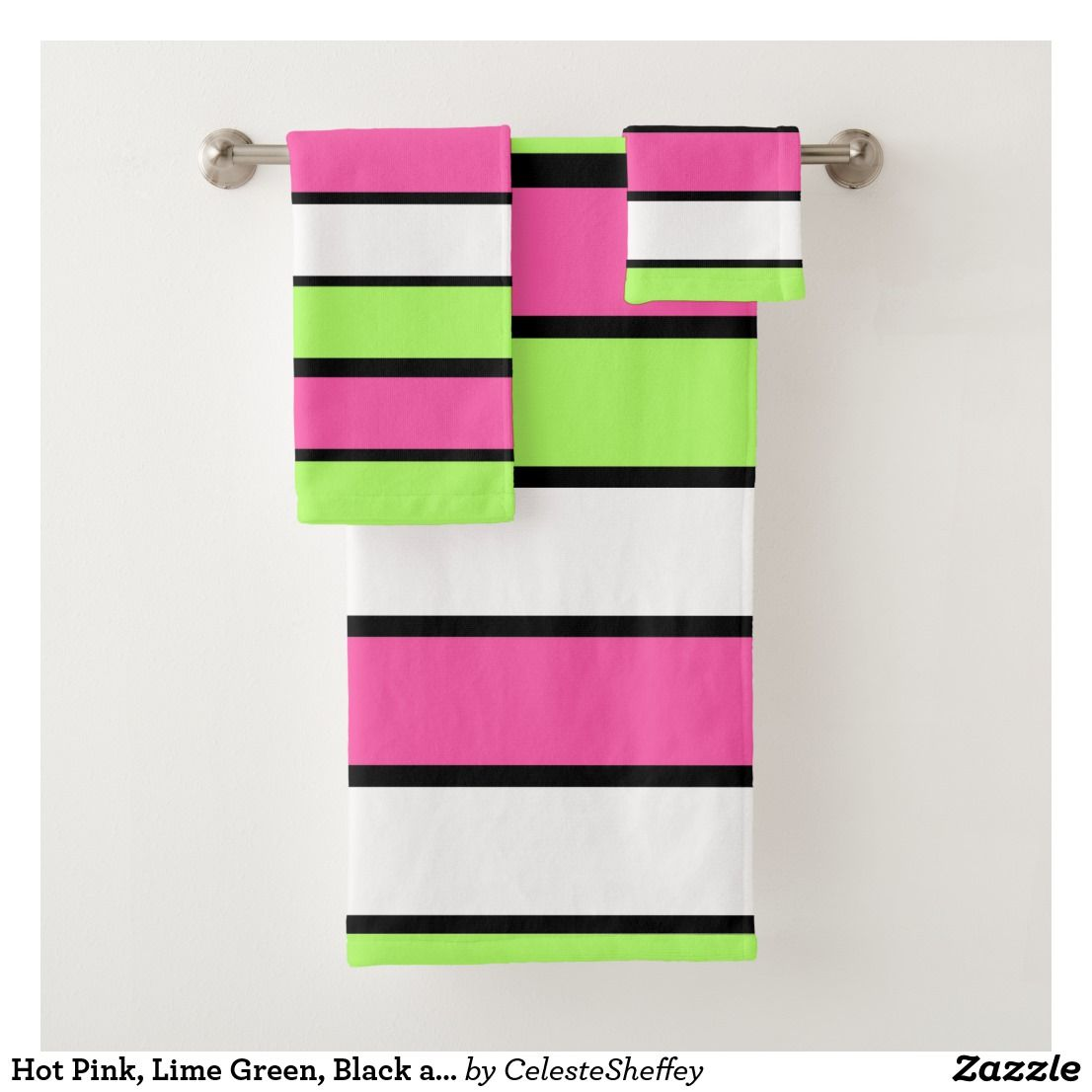 Hot Pink Lime Green Black And White Stripes Bath Towel Set Zazzle Com Towel Set Bath Towel Sets Bath Towels