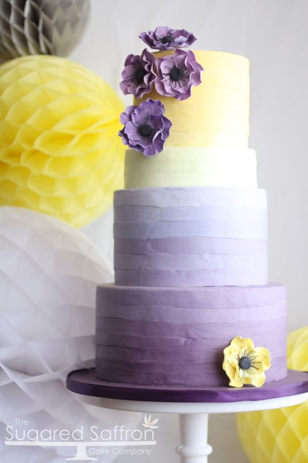 Ombre Purple And Yellow Cake With Anemones Purple Wedding Cakes