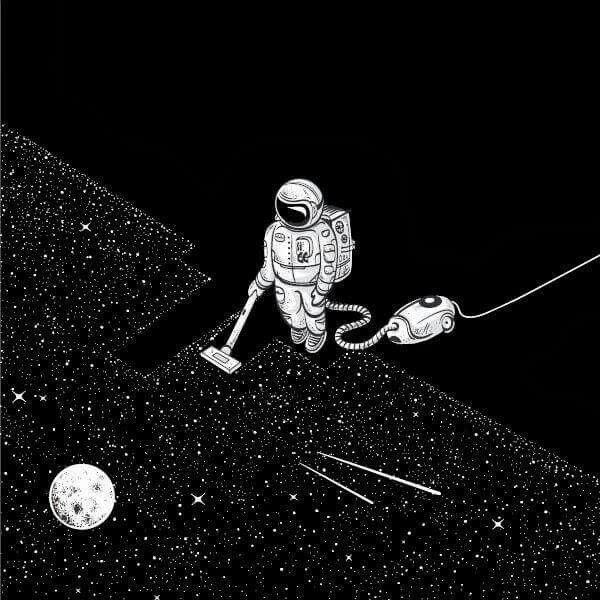 Astronaut Vacuuming Stars Wallpaper Wallpapershit
