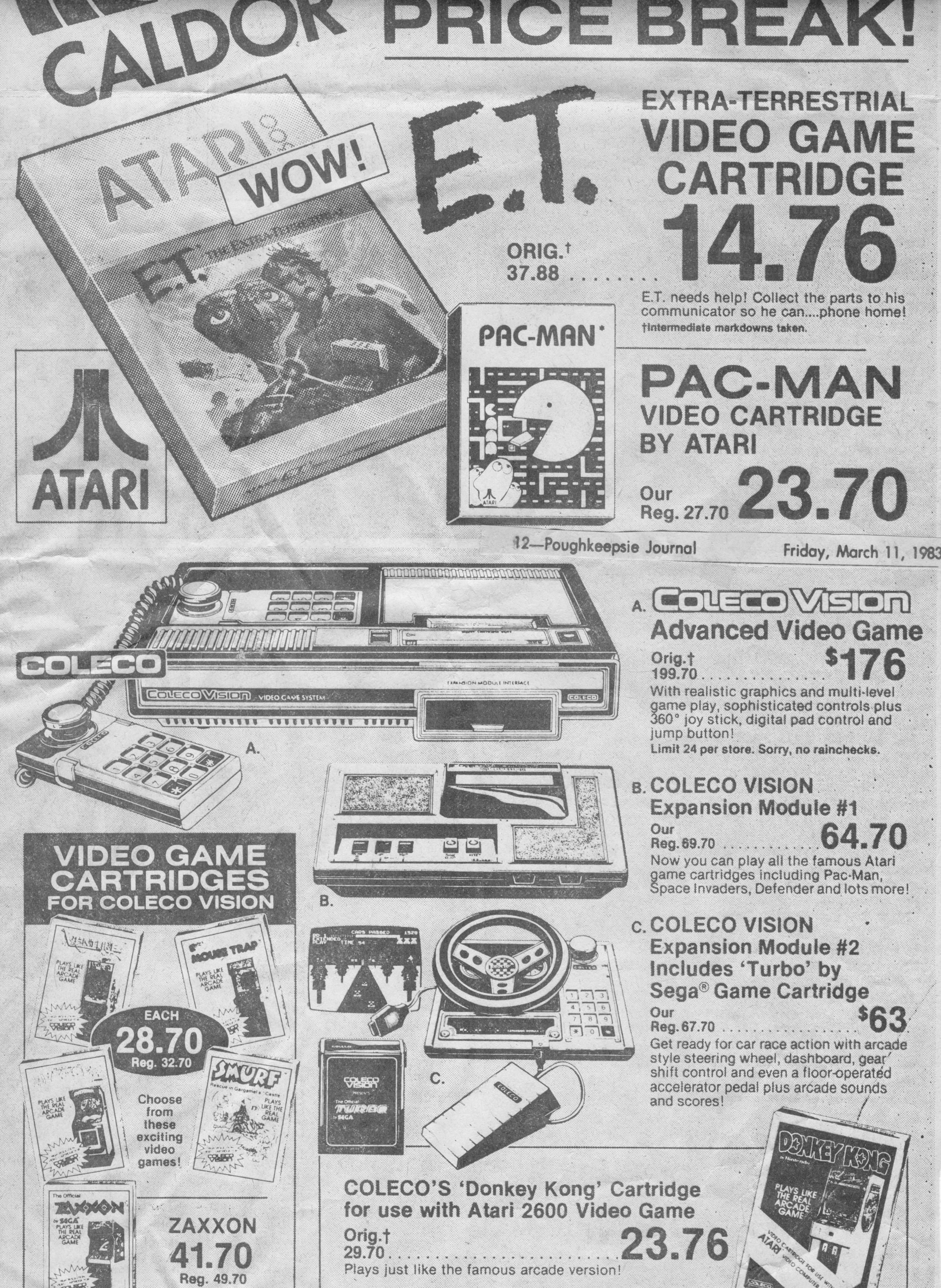 Dated, March 11, 1983  Huge sale on Atari and Colecovision