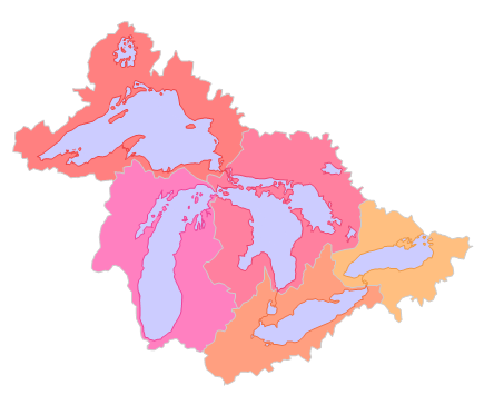 - Map of the Great Lakes Basin showing the five sub-basins.