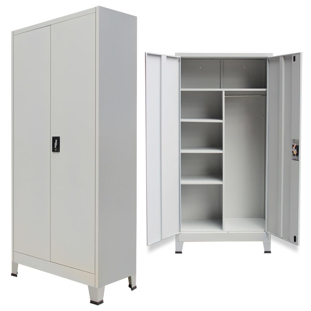 160 Vidaxl Locker Cabinet With 2 Doors Steel 90x40x180 Cm Grey Locker Storage Office Storage Cupboards Office Storage Cabinets