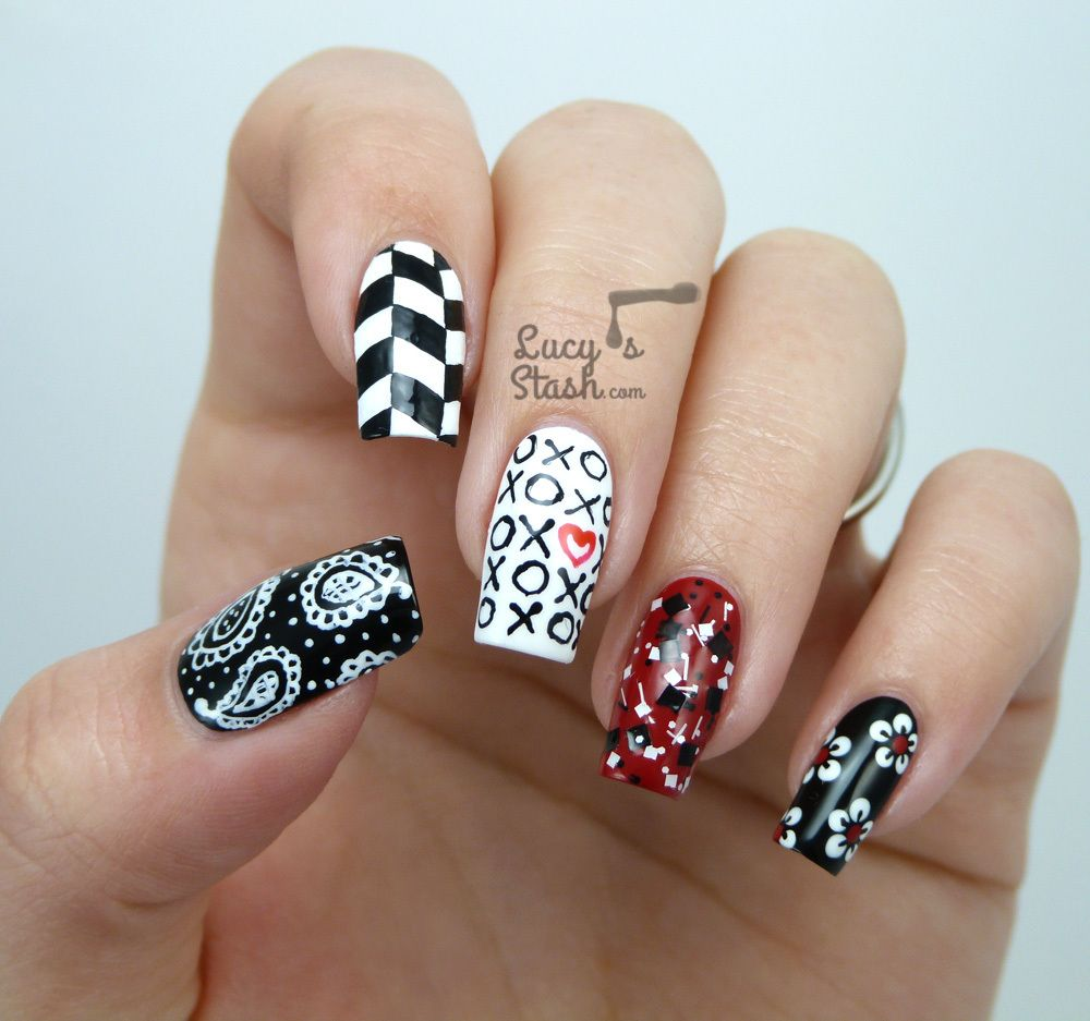 Mix & Match Red, Black & White Nail Art Design - Mix & Match Red, Black & White Nail Art Design Painting