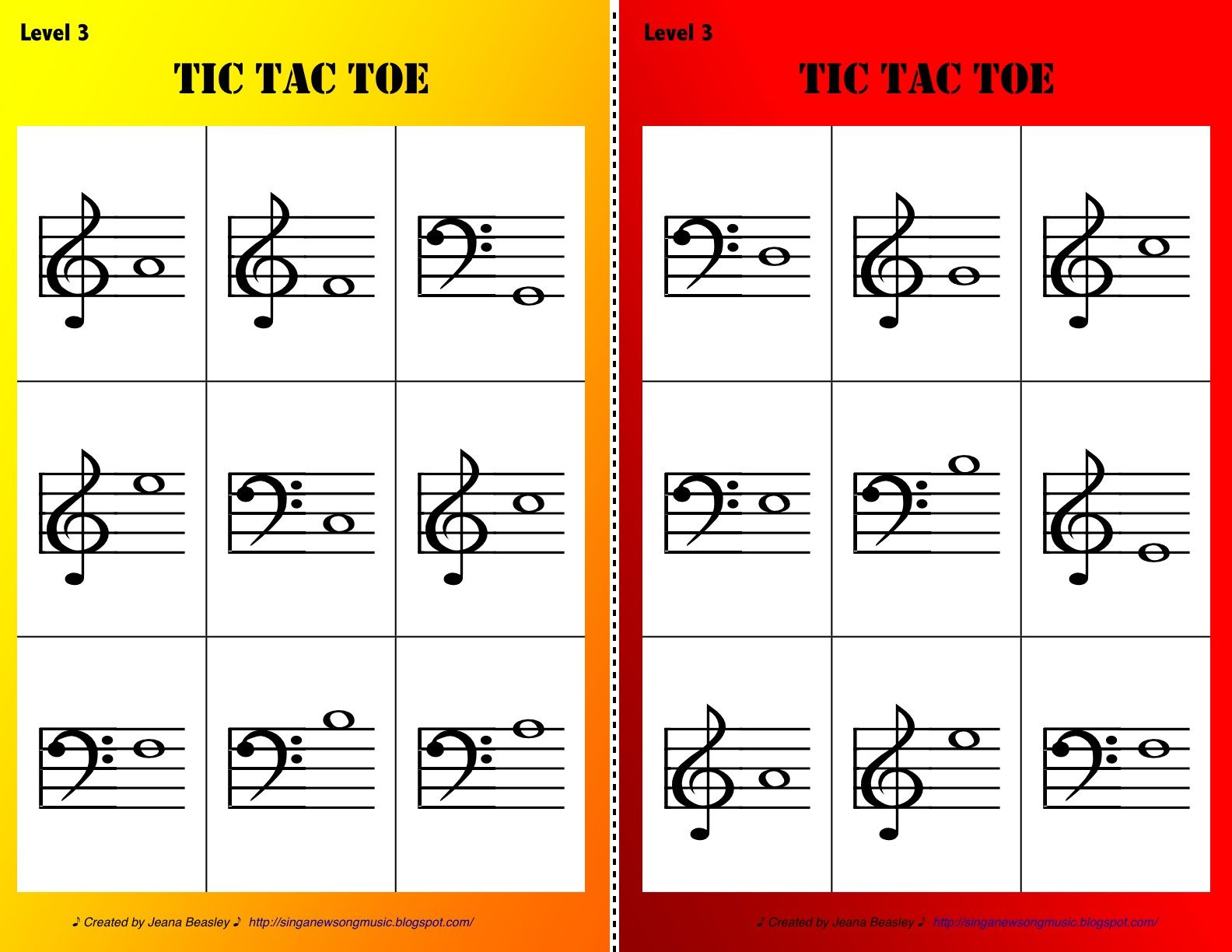 Sing A New Song Tic Tac Toe Levels 1 3