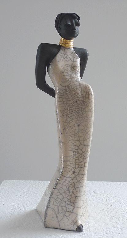 Sara - Kunst- Skulptur von Margit Hohenberger Figuren töpfern - figuren aus ton selber machen