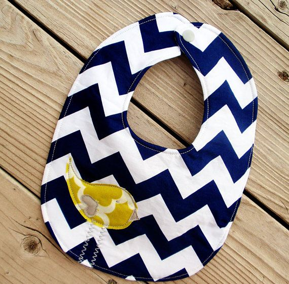 Navy chevron baby bib with citron birdie by PaisleyPockets on Etsy, $8.00