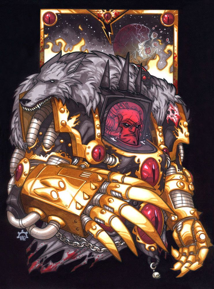 Stylized Portrait of Warmaster Horus Lupercal, Lord and Primarch of the XVIth Legion Astartes, The Luna Wolves