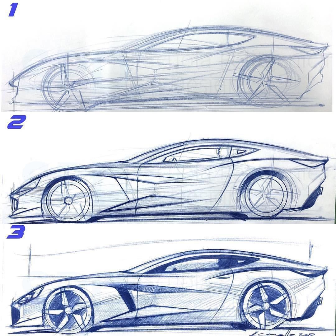 Pencil Sketch In 3 Steps By Michele Leonello Michele Leonello Cardesign Car Design Carsketch Car Design Sketch Car Design Car And Motorcycle Design
