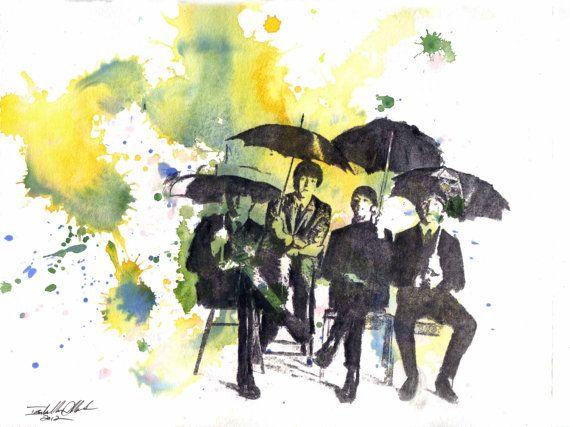 The Beatles Art Art Print From an Original Watercolor by idillard, $18.00