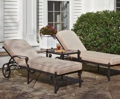 Grand Terrace Chaise Lounge - An easily adjusted back Wheels for