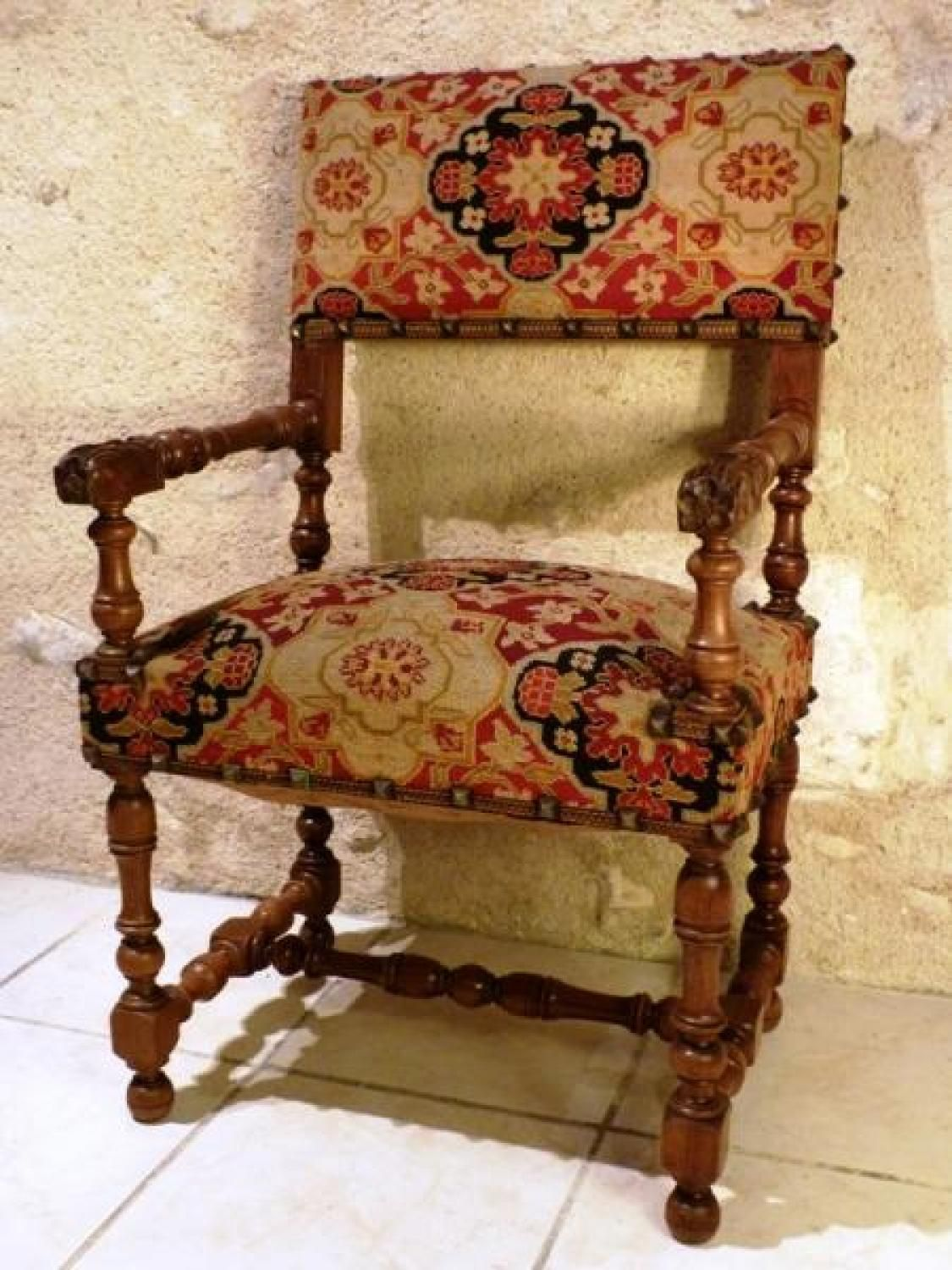 Antique furniture styles - Antique For Sale Louis Xiii Style Armchair Chair Seat Furniture