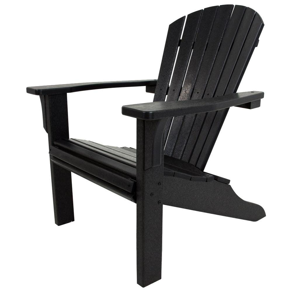 POLYWOOD Seashell Black Plastic Patio Adirondack Chair ...