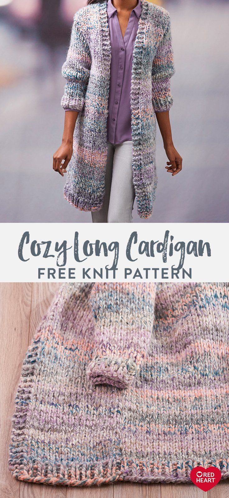 Cozy Long Cardigan free knit pattern in Collage yarn. Make a statement with this...