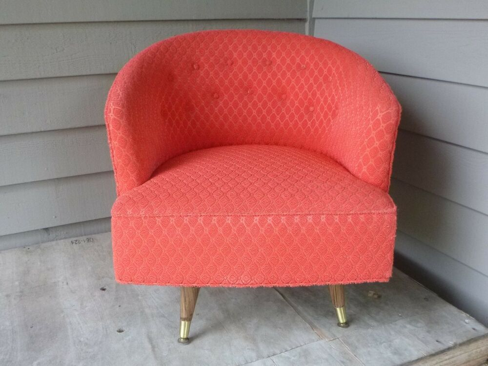 Stupendous Vtg 50S Mid Century Barrel Swivel Chair Original Red Frieze Ocoug Best Dining Table And Chair Ideas Images Ocougorg