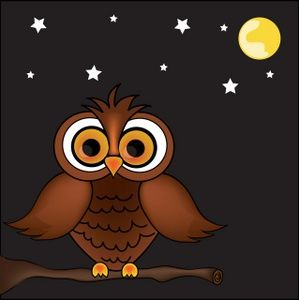 Owl Clipart Image: Cartoon Owl Sitting on a Tree Branch at ...