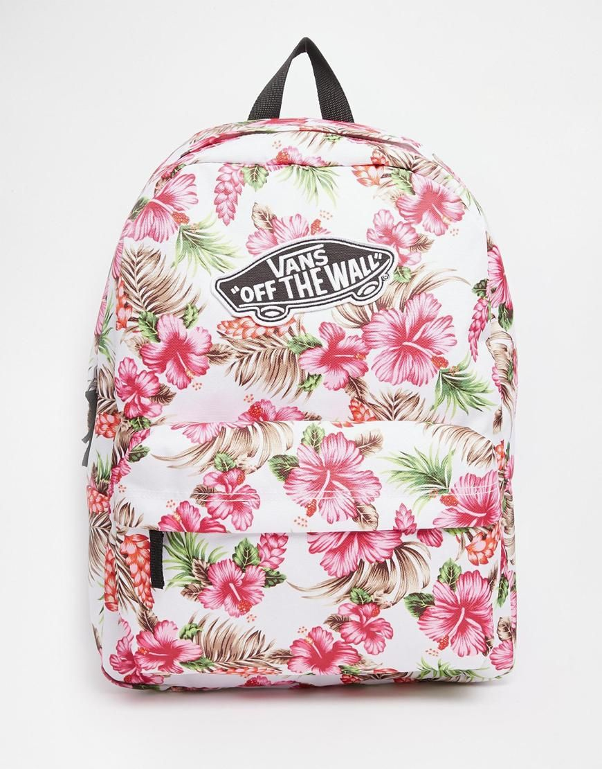 Vans+Realm+Backpack+in+Cream+Hawaiian+Print | Vans bags