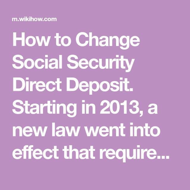 Change Social Security Direct Deposit | td | Social security