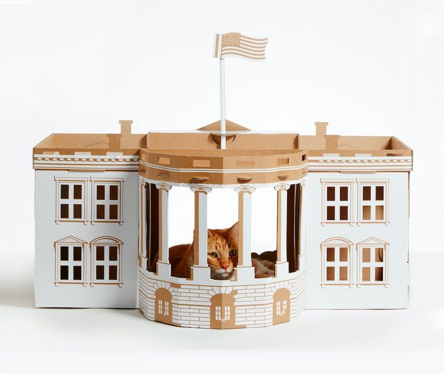 Cardboard Cat Houses Inspired By Famous Architectural Landmarks - This company makes cardboard tanks houses and planes for cats and theyre perfect