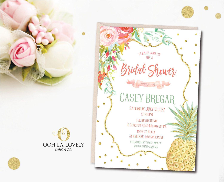 Floral Pineapple Bridal Shower Invitation, Pool Party Invitation ...