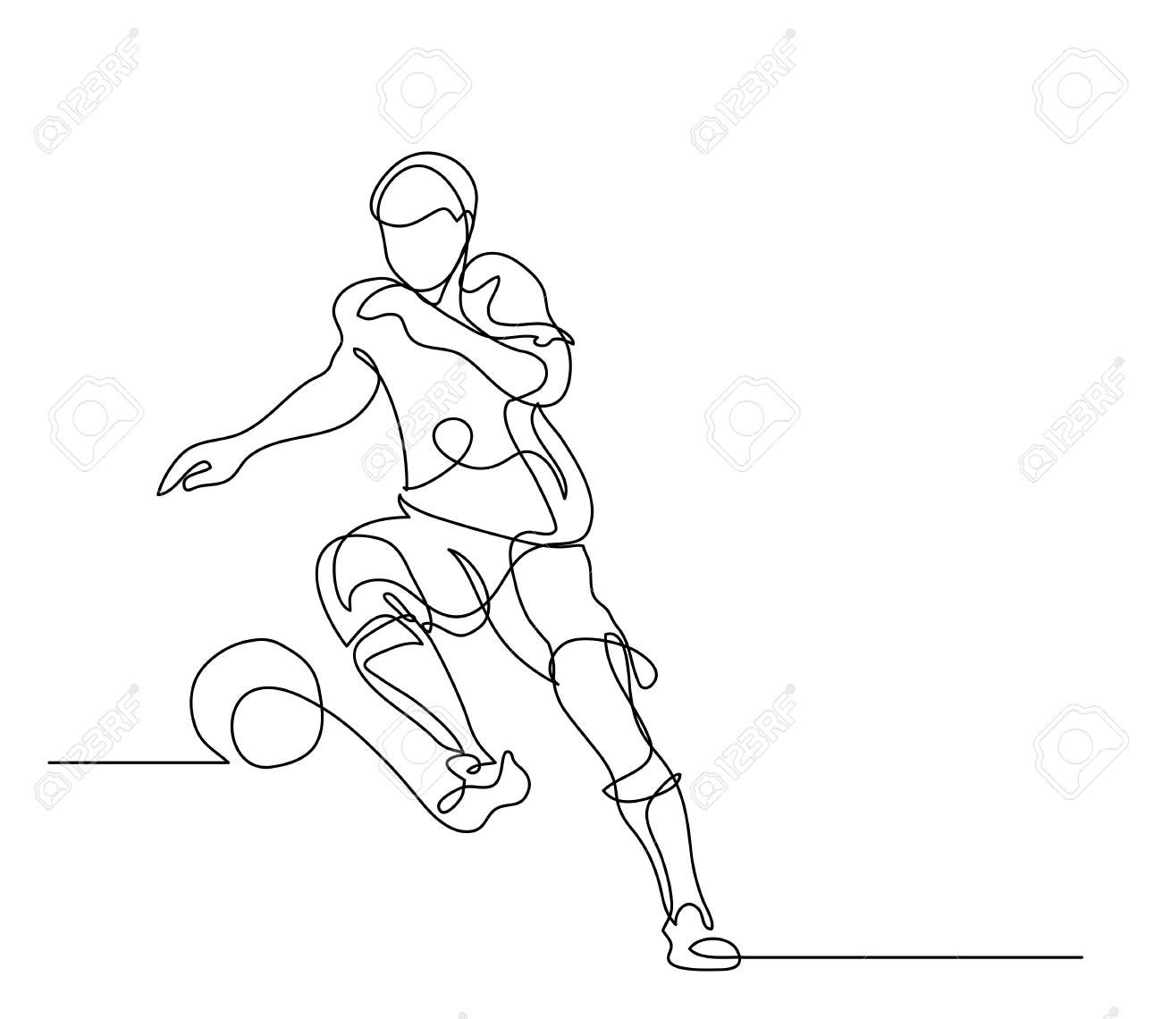 Continuous Line Drawing Illustration Shows A Football Player Kicks The Ball Soccer Vector Illustrat In 2020 Continuous Line Drawing Line Drawing Vector Illustration