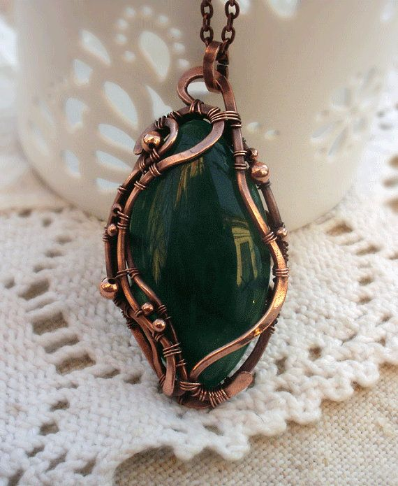 Wire Wrapped  necklace with green agate by ChervoniKoraliArt