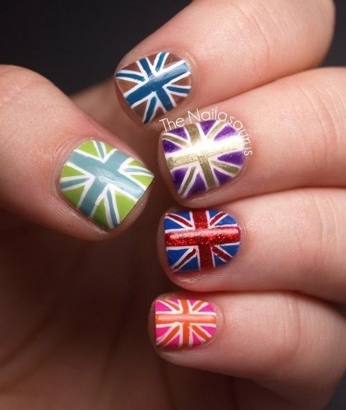 Different Color England Nails Art For 2014 World Cup 2014 Color