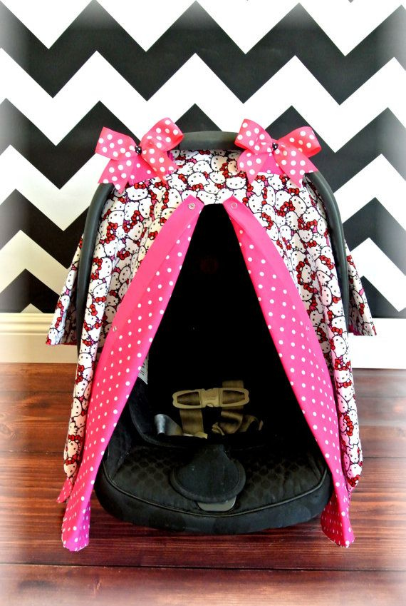 HELLO KITTY Car Seat Cover Canopy Infant Hot Pink Black Polka Dot Damask Bows Girl Baby Boy