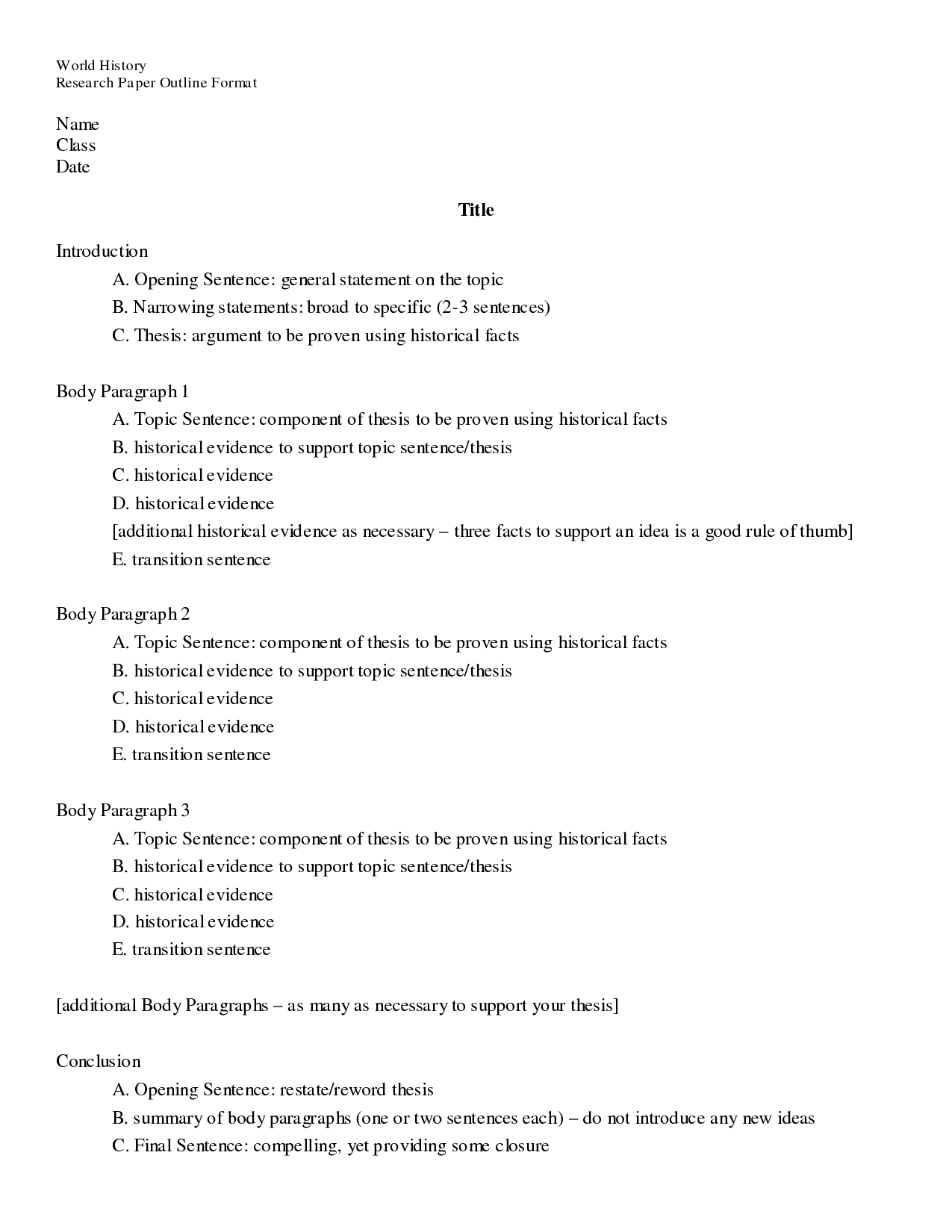 Elementary Research Paper Outline Template  Outline Format  Doc