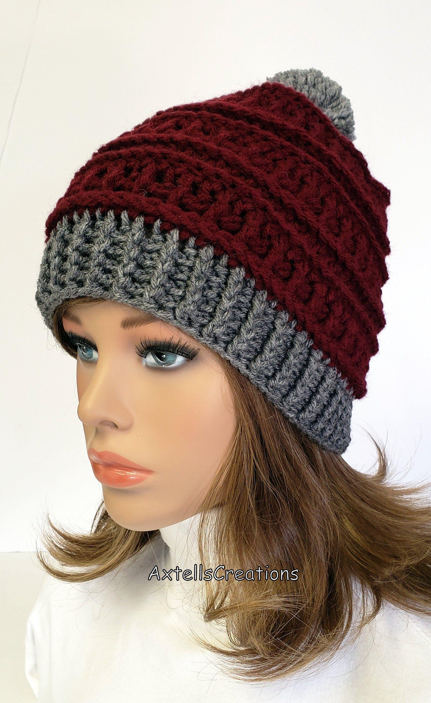 Red Winter Ski Hat With Gray Pom Pom 385495072dd
