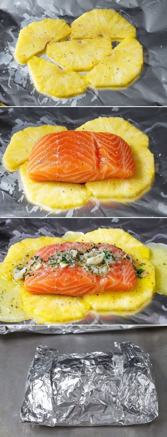 Photo of Lemon Garlic Butter Salmon in Foil with Pineapple #weeknightdinners This honey l…