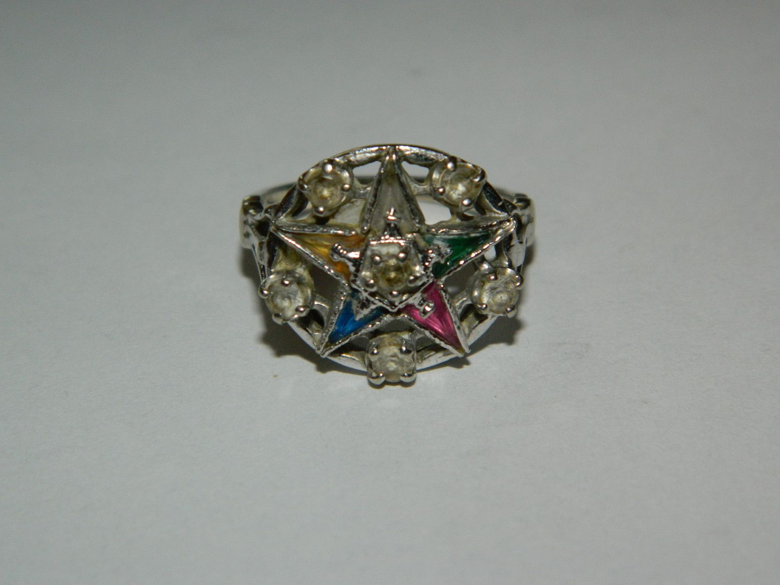 Vintage 10k White Gold Mason Masonic Order Eastern Star Multi Stone Ring Size7 Multi Stone Ring Eastern Star Masonic Order