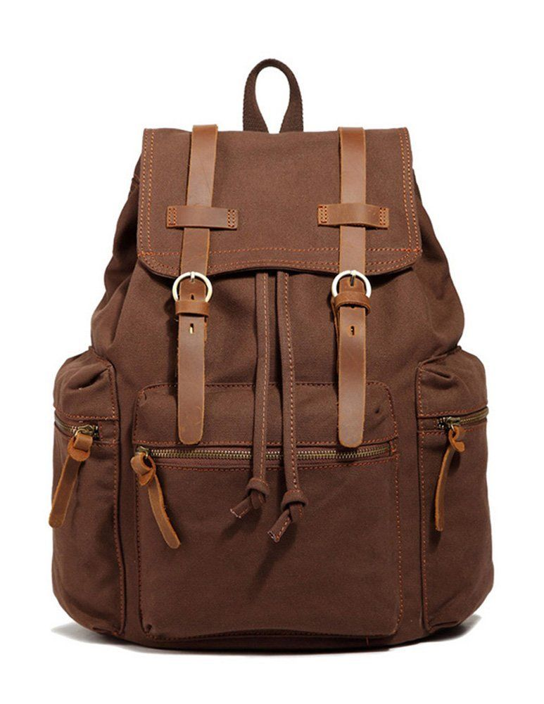 38e4ebff81b Amazon.com: Kattee Canvas + Leather Hiking Travel Military Backpack ...