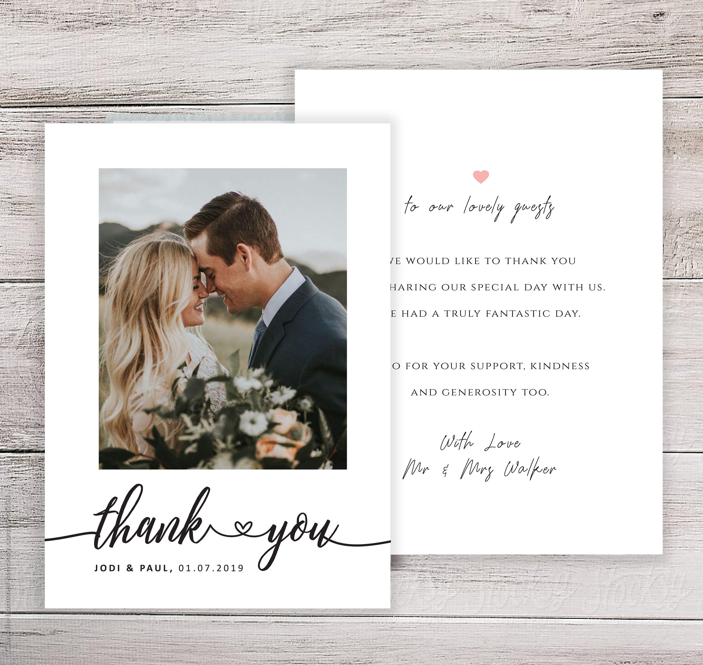 Wedding Thank You Cards With Photo Wedding Photo Thank You Etsy Wedding Thank You Cards Wording Photo Thank You Cards Picture Thank You Cards