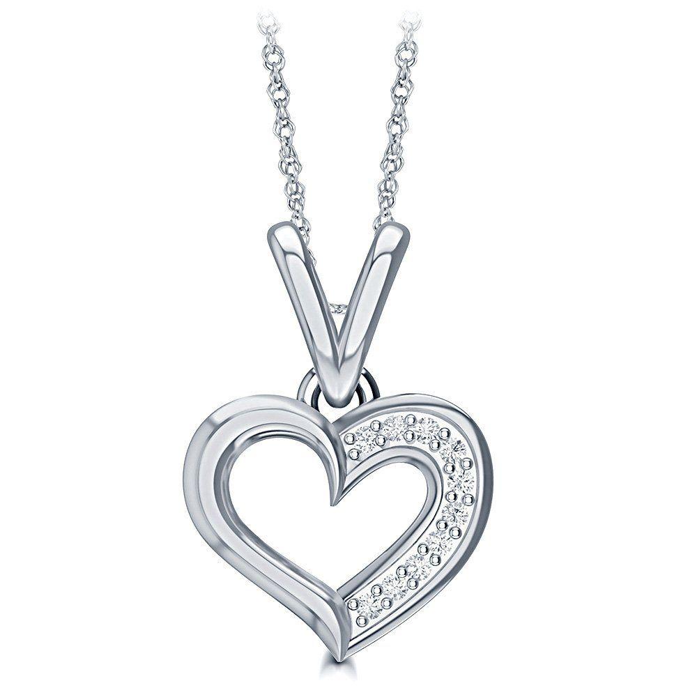 003ct tw 10k white gold heart shape diamond pendant necklace 003 003ct tw 10k white gold heart shape diamond pendant necklace 003 cttw 10k white aloadofball Image collections