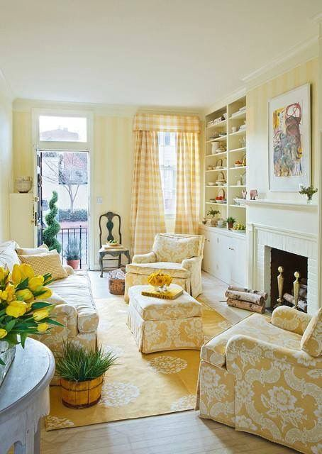 Sunny Bright Yellow Living Room If I Were Redesigning A With Fireplace Would Definitely Add These Built In Shelves On Both Sides