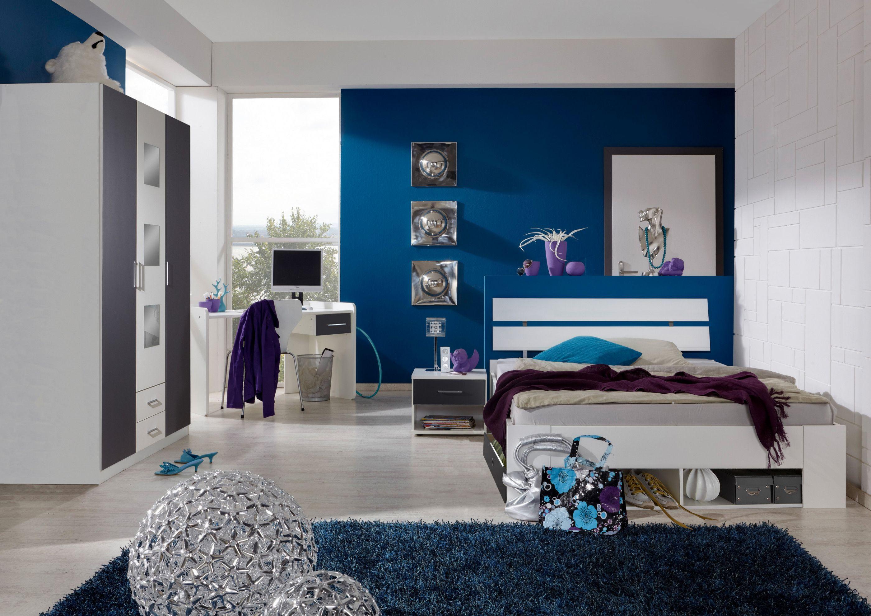 Jugendzimmer Mit Bett 140 X 200 Cm Alpinweiss Anthrazit Woody 132 01423 Modern Jetzt Bestellen U Modernes Schlafzimmer Design Modernes Schlafzimmer Bett Ideen