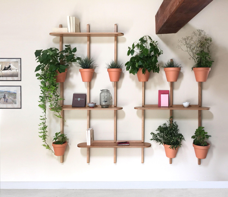support mural xpot pour 4 pots de fleurs ou tag res h. Black Bedroom Furniture Sets. Home Design Ideas