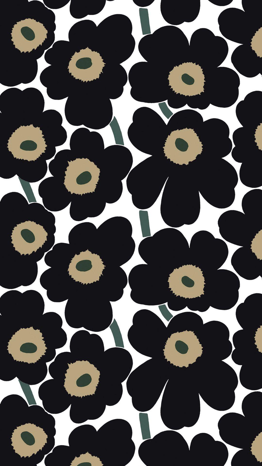 これぞ王道 黒のウニッコのマリメッコ Marimekko Iphone壁紙