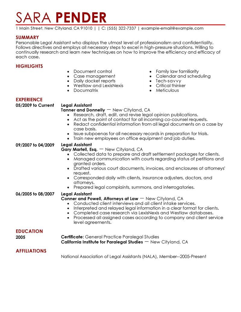 Paralegal Legal Assistant Legal Secretary Cover Letter And Resume  Law Resume