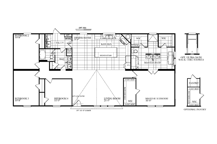 The The Sherman Floor Plan This Manufactured Mobile Home Features 4 Bedrooms And 2 Baths Manufactured Homes Floor Plans Pole Barn House Plans Floor Plans