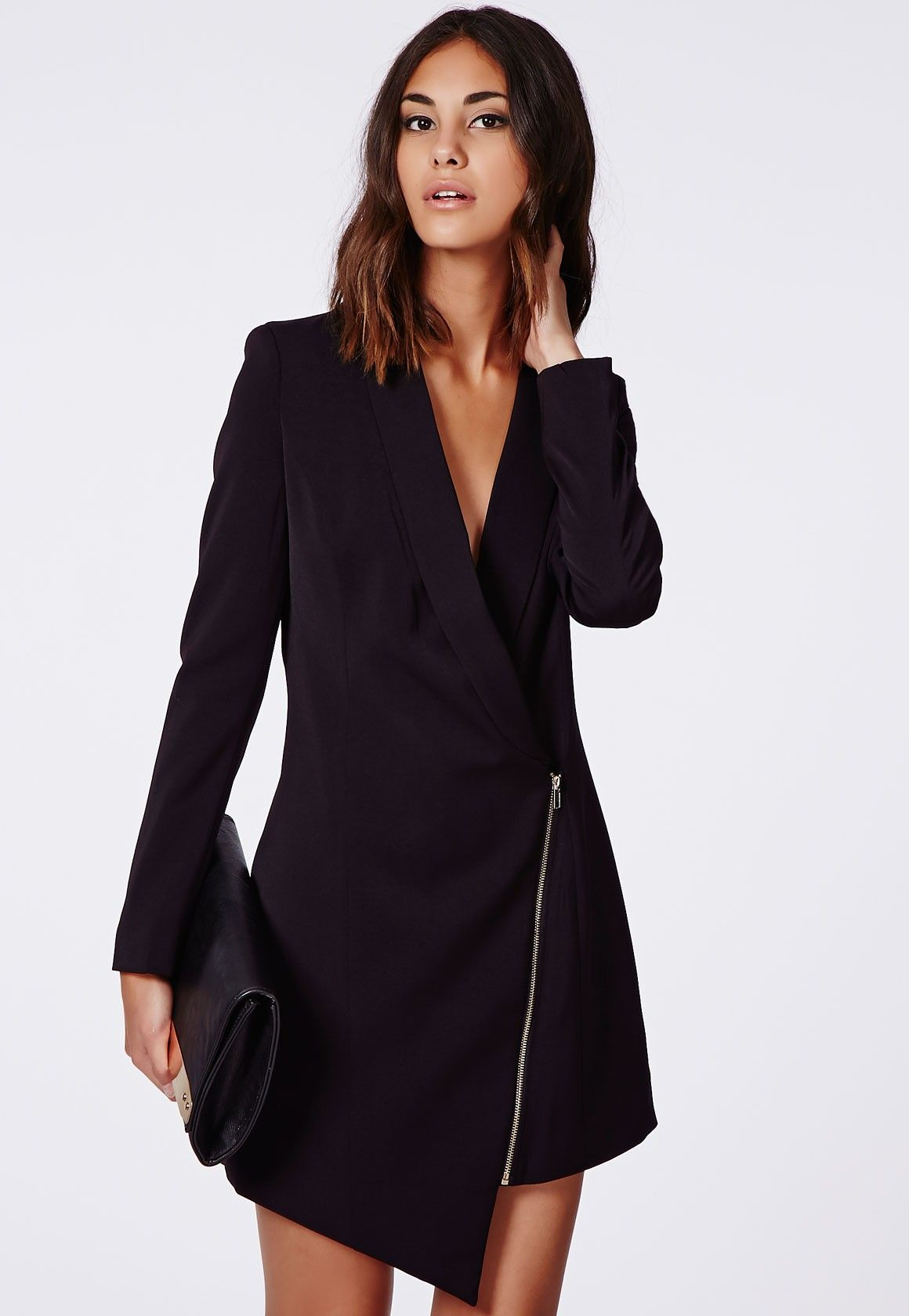 7c701ea3502 Sancha Long Line Asymmetric Zipped Blazer Dress - Blazers - Missguided