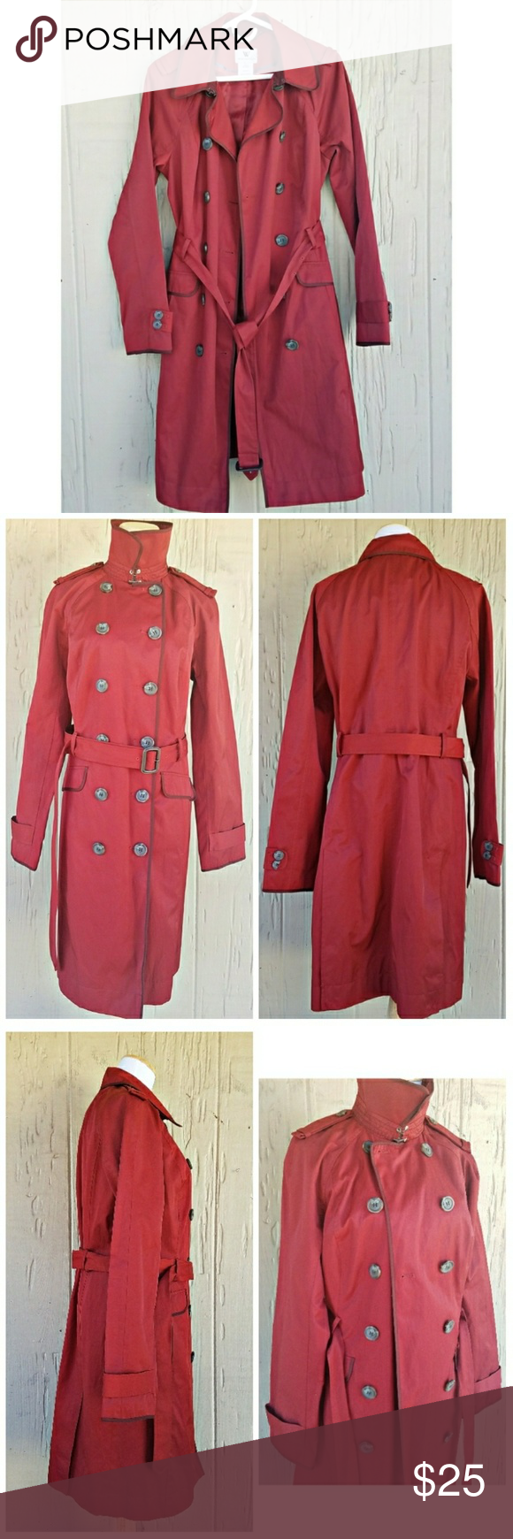 "Worthington Trench Coat Worthington lined, double breasted trench coat with waist belt and 2 front pockets.  ⚠Button broken in half on left sleeve as pictured in last photo⚠  📐DIMENSIONS📐 (approximate) Sleeve: 30"" Chest: 20.5"" Length (back): 39.25""              (Front): 37"" Belt: 70"" (to buckle) __________________________________ Outer Shell: 57% Cotton                      43% Polyester Lining: 100% Polyester  Color(s): Burgundy Worthington Jackets & Coats Trench Coats"