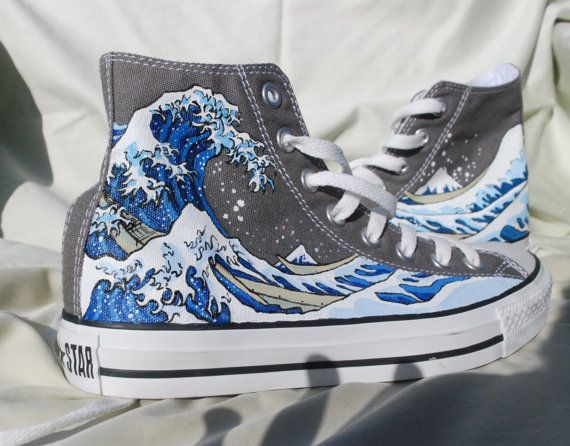 5a486c0a15a778 Hand Painted Converse Shoes - The Great Wave Off Kanagawa - Grey ...